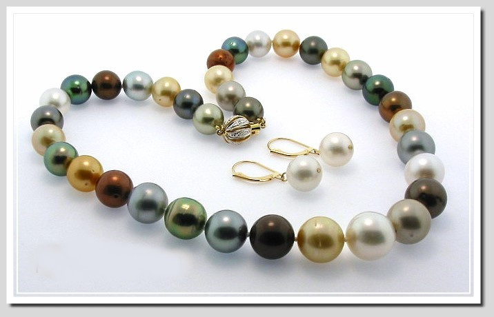 10 - 13.2MM Multi Color Tahitian / South Sea Pearl Necklace 16in / Earrings Set 14K Gold