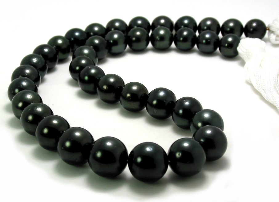 10MM - 12.6MM Black Tahitian Pearl Necklace, 14K Clasp, 17.5in