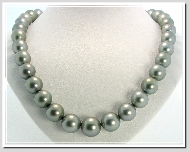 11.1-14.8MM Light Gray Round Tahitian Pearl Necklace 14K Diamond Clasp 0.35CT. 18.5in