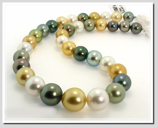 10.1MM - 14.4MM Tahitian South Sea Pearl Necklace 14K Diamond Clasp 17.5in