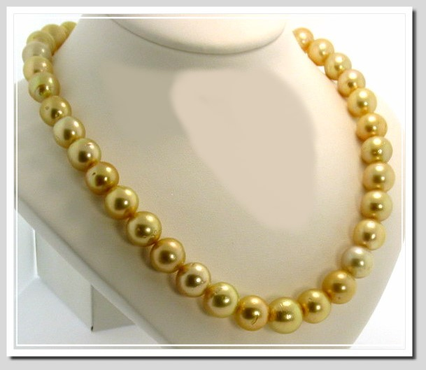 10 - 12.6MM Golden South Sea Pearl Necklace 14K Diamond Clasp 16.5in
