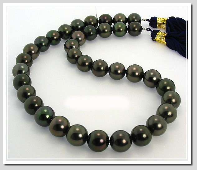 11-12MM Blck Tahitian Pearl Necklace 14K Diamond Clasp 17.5in