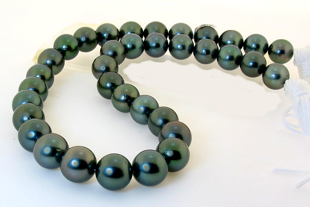 11MM - 12.2MM Peacock Tahitian Pearl Necklace Diamond Ball Clasp 17in