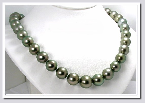 11MM - 13.6MM Gray/Green Tahitian Pearl Necklace 14K Diamond Clasp 17.5in