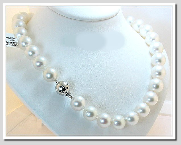 12MM - 15.2MM White South Sea Pearl Necklace 14K Diamond Clasp 17in