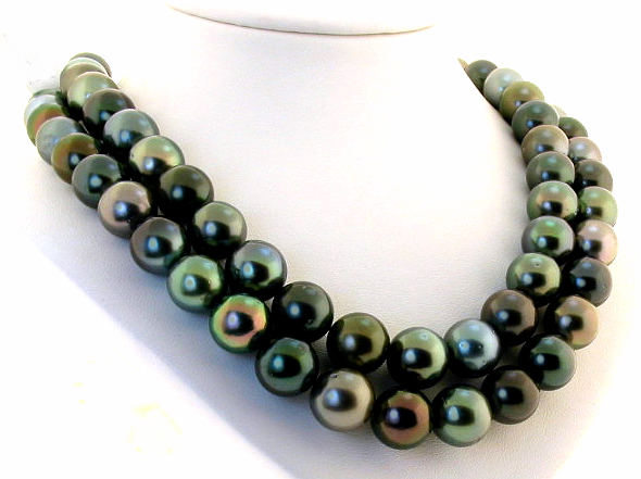10MM - 12.9MM Multi Color Tahitian Pearl Necklace Diamond Ball Clasp 34in