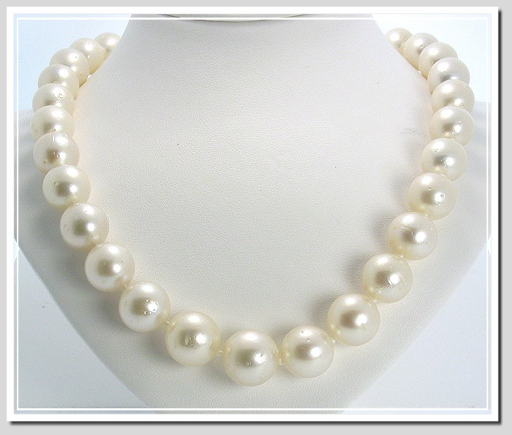 Gold South Sea Pearl Necklace - Round South Sea Pearls - South Sea