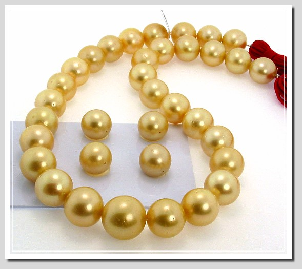 12.2-15.3MM Dark Golden South Sea Pearl Necklace 14K Diamond Clasp 17.5in