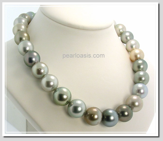 12 - 14.8MM Multi Color Tahitian Pearl Necklace 14K Clasp 17.5in