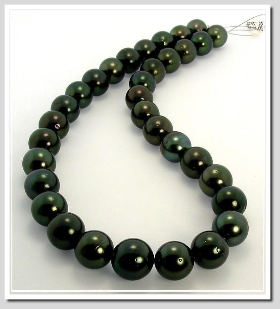 12MM - 14.8MM Peacock Tahitian Pearl Necklace 14K Diamond Clasp 19in