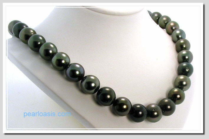 12MM - 15MM Dark Gray Tahitian Pearl Necklace 14K Diamond Clasp 19in