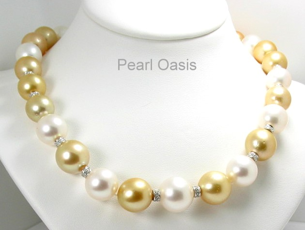 11.5MM - 15.12MM Multi Color South Sea Pearl Diamond Necklace, 0.44 Ct. 14K Gold 16in