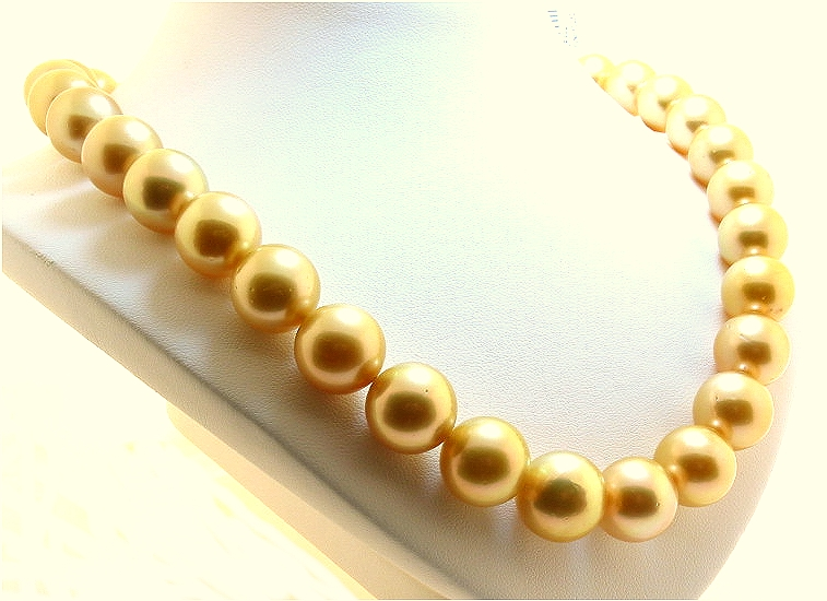 12.1MM - 14.3MM Dark Golden South Sea Pearl Necklace 14K Diamond Clasp, 17.5in