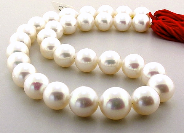 AAA 12.1MM - 15.6MM White Round South Sea Pearl Necklace, 14K Diamond Clasp, 17.5in