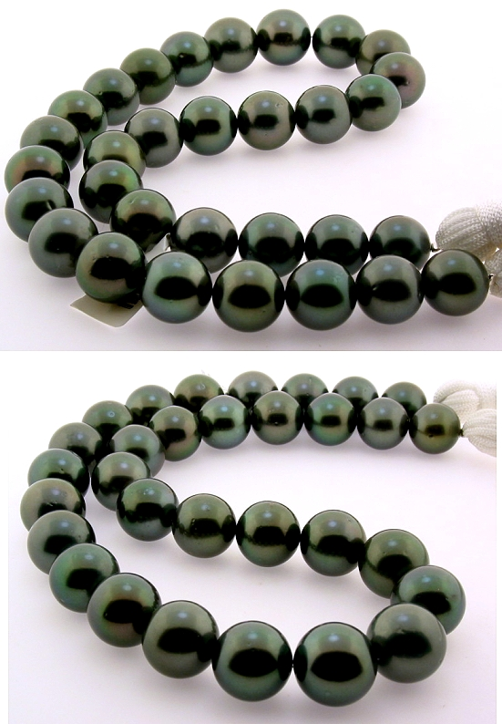 12MM - 14.8MM Gray/Green Tahitian Pearl Necklace 14K Diamond Clasp 18in
