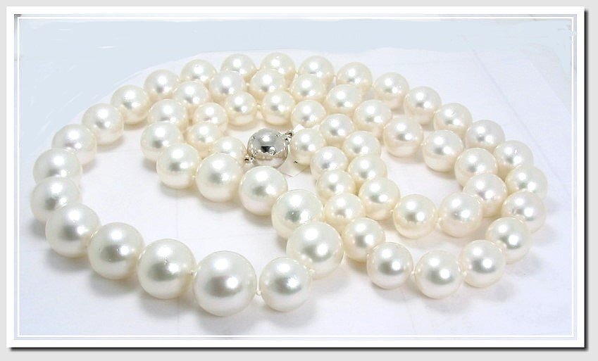 12MM - 16.6MM White South Sea Pearl Necklace 14K Diamond Clasp 35in