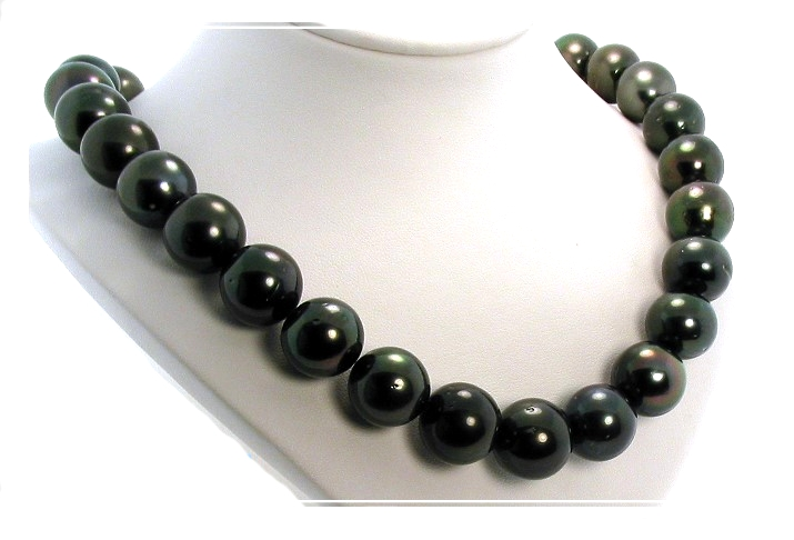 15MM - 17MM Black Tahitian Pearl Necklace 14K Diamond Clasp 17.5in