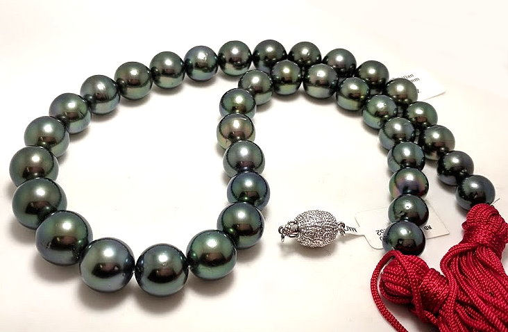 10MM - 12.9MM Peacock Tahitian Pearl Necklace, 14K Diamond Clasp 18in