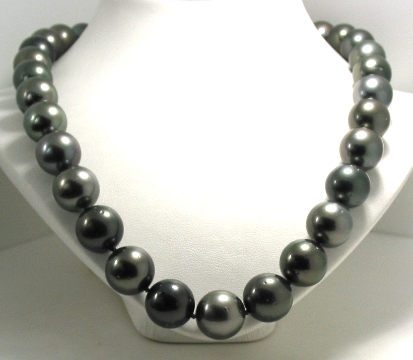 12.2MM - 14.8MM Dark Gray Tahitian Pearl Necklace, 14K Diamond Clasp, 18.2in