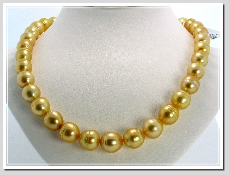 10 - 12MM Dark Golden South Sea Circle Pearl Necklace 18K X Clasp 17.5in.