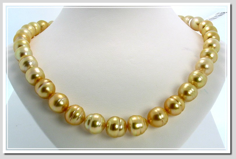 11 - 13MM Dark Golden South Sea Circle Pearl Necklace 18K X Clasp 18in.