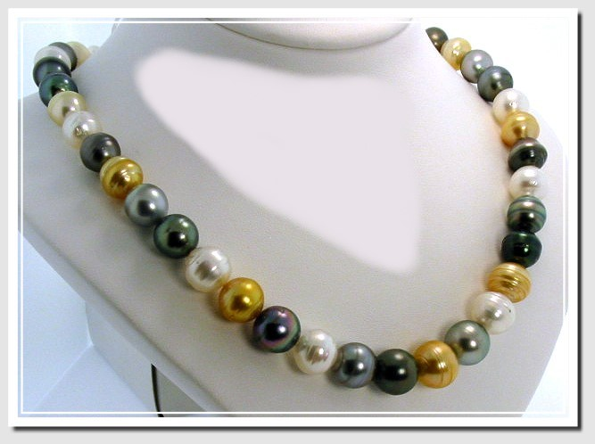 9MM - 12.2MM Multi Color Tahitian & South Sea Pearl Necklace 14K Diamond Clasp 18in