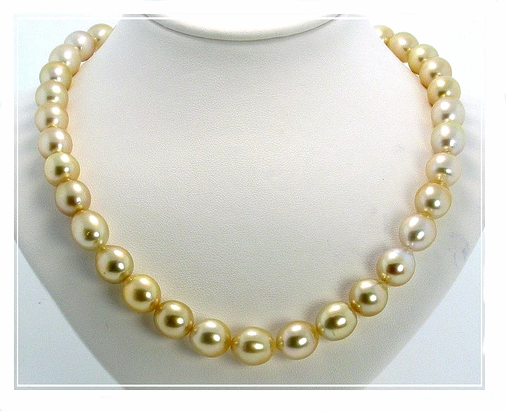 10X11MM-11X13MM Light Golden Oval South Sea Pearl Necklace 14K Diamond Clasp 17.5In