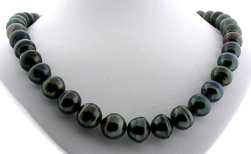 10MM -12.6MM Black Tahitian Pearl Necklace, 14K Clasp, 18in