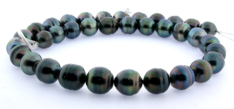 10MM - 12MM Peacock Tahitian Pearl Necklace, 14K Clasp, 18in