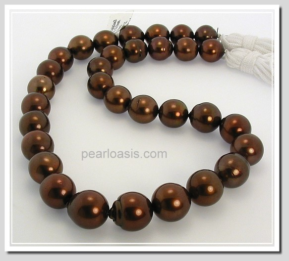 11X13.5MM Chocolate Brown Tahitian Pearl Necklace 14K Diamond Clasp 17.5in