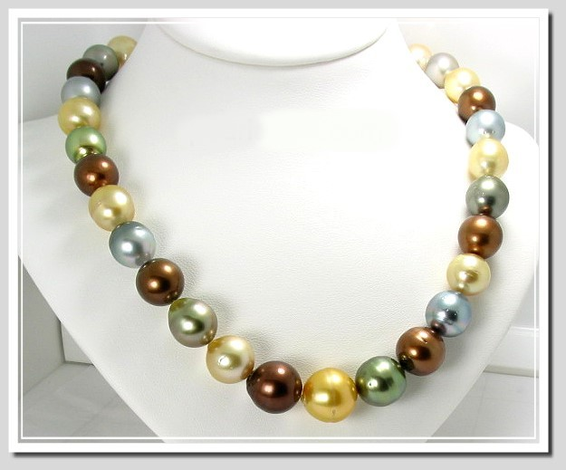 11MM - 14.5MM Multi Color South Sea & Tahitian Pearl Necklace 14K Diamond Clasp 18in