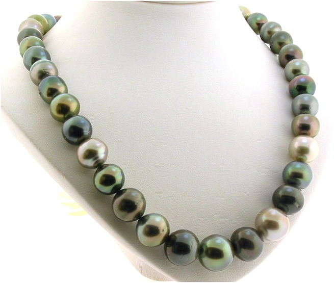11mm 14mm Multi Color Tahitian Pearl Necklace 14k Clasp