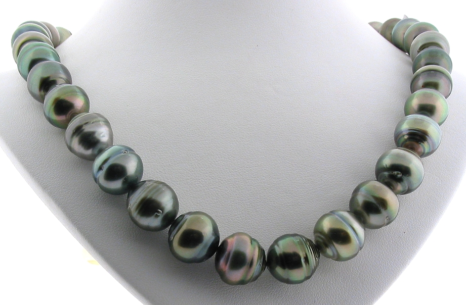 11.4MM - 13.8MM Gray/Green Tahitian Pearl Necklace, 14K Clasp, 18in