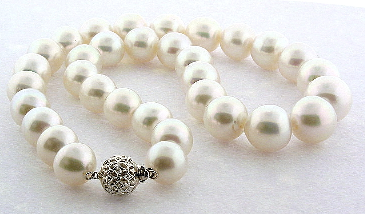 AAA 12MM - 14.8MM White South Sea Pearl Necklace, 14K Diamond Clasp, 18.5in