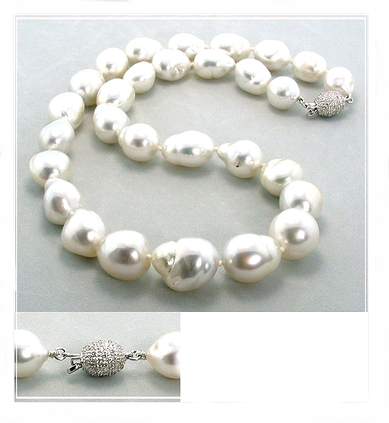 10.2X12.3MM - 14X17.5MM Baroque South Sea Pearl Necklace 14K Diamond Clasp 0.27CT. 18in