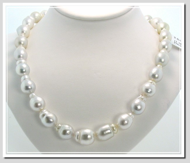 9.8X13MM - 12.9X16MM White Baroque South Sea Pearl Necklace 14K Diamond Ball Gold Clasp 17in
