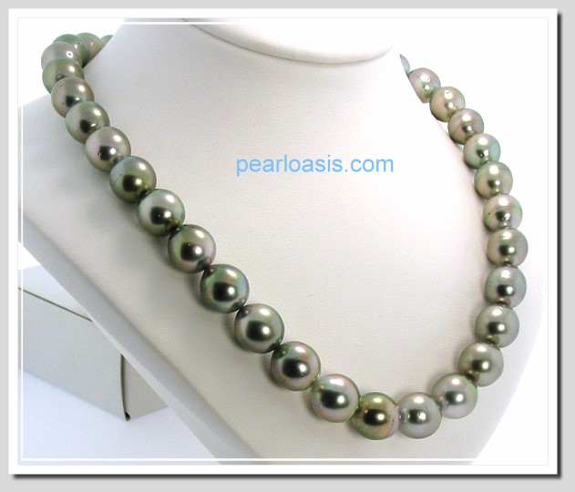 10MM - 11.7X13MM Gray Tahitian Pearl Necklace 14K White Gold Clasp 17.5in.