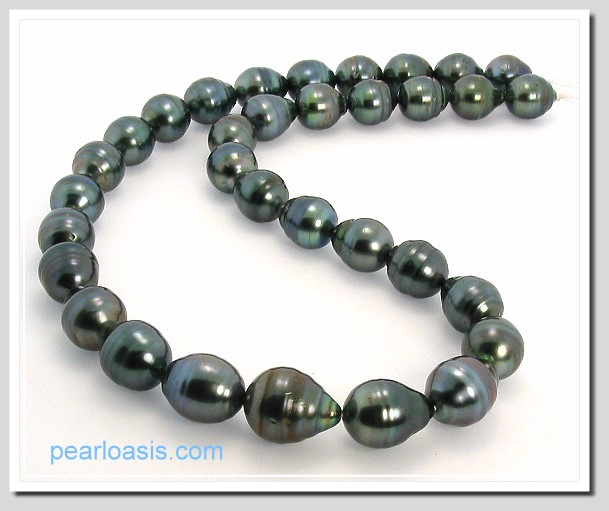 10X11MM - 12X15MM Black Tahitian Pearl Necklace 14K White Gold Clasp 17.5in.