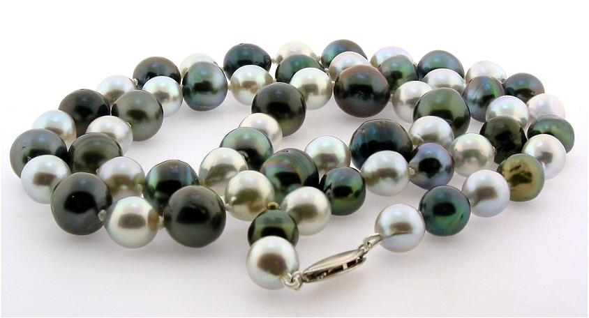 8-11.3MM Black Tahitian Pearl & Gray Akoya Pearl Necklace, 14K Clasp, 25in.