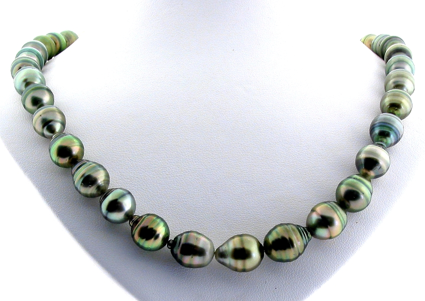 9.1MM - 11X12.6MM Gray/Green Tahitian Pearl Necklace, 14K Clasp, 18in
