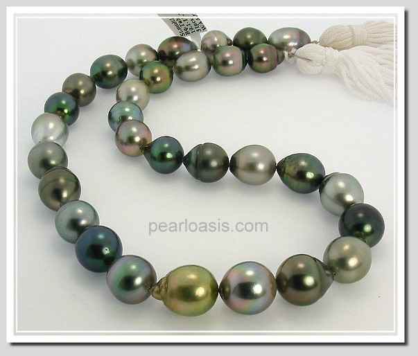 10X12MM - 13.2X14MM Multi Color Tahitian Pearl Necklace 14K Clasp 18in