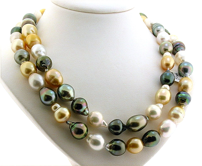 9.9X14MM - 12X16.3MM Multi Color South Sea & Tahitian Pearl Necklace 14K Clasp, 34in.