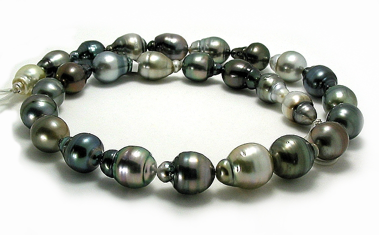 10X14MM - 12.9X16.9MM Multi Color Tahitian Pearl Necklace 14K Clasp, 18in