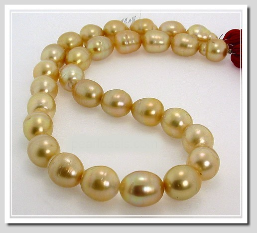 11X14MM - 13X15.9MM Golden Baroque South Sea Pearl Necklace 18K Yellow Gold Clasp 17.5in