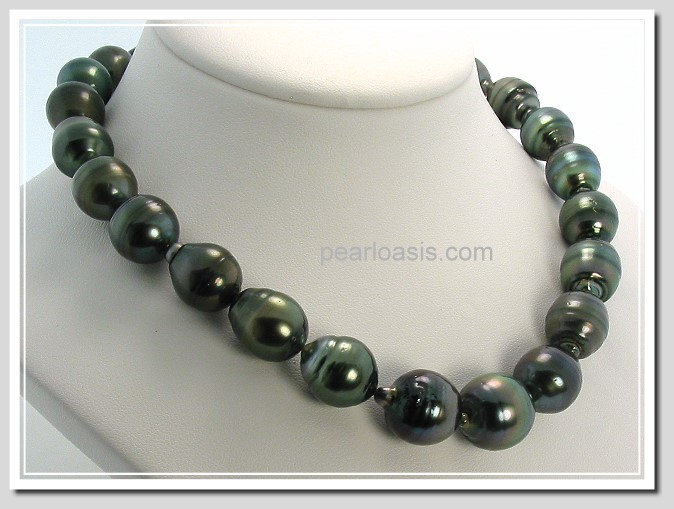 11-14.7MM Black Baroque Tahitian Pearl Necklace 14K Clasp 17.5in