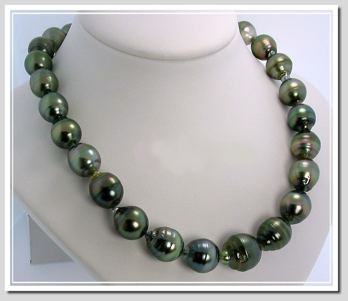11X12MM - 15X18MM Dark Gray Tahitian Pearl Necklace 14K Clasp 17.5in