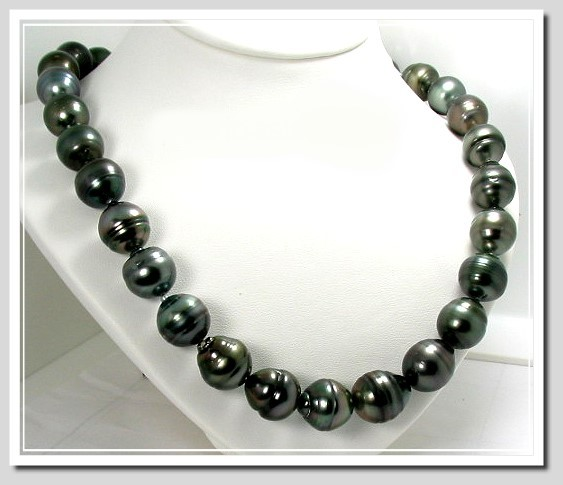 12X13MM - 14.6X17.4MM Gray Tahitian Pearl Necklace 14K Clasp 17.5in