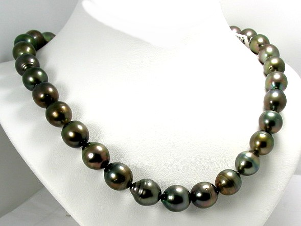 11X12MM - 12.3X13.9MM Dark Gray Baroque Tahitian Pearl Necklace 14K Clasp 18in.