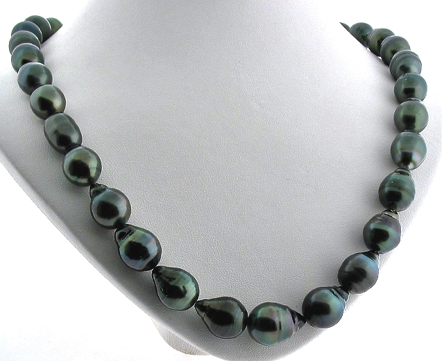 10X12MM - 12.5X16.6MM Black Tahitian Pearl Necklace 14K Clasp, 20in