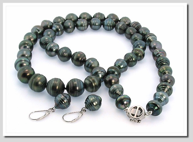 10-12MM Dark Gray Tahitian Pearl Necklace/Earring Set 14K Gold. 23.5in.